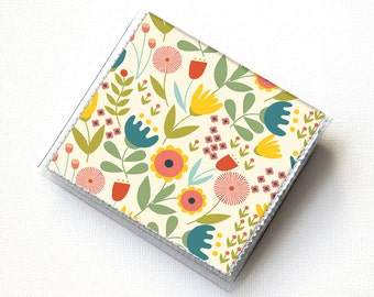 Vinyl Moo Square Card Holder - Scandinavian Summer1 / snap, mini card case, moo case, small, square, gift, floral, flowers, pretty, folk