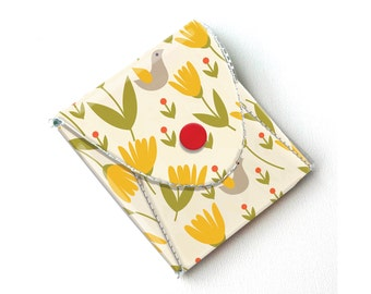Vinyl Coin Purse - Scandinavian Summer2/ coin, wallet, vegan, change, snap, small, little, pocket wallet, gift, flowers, floral, folk