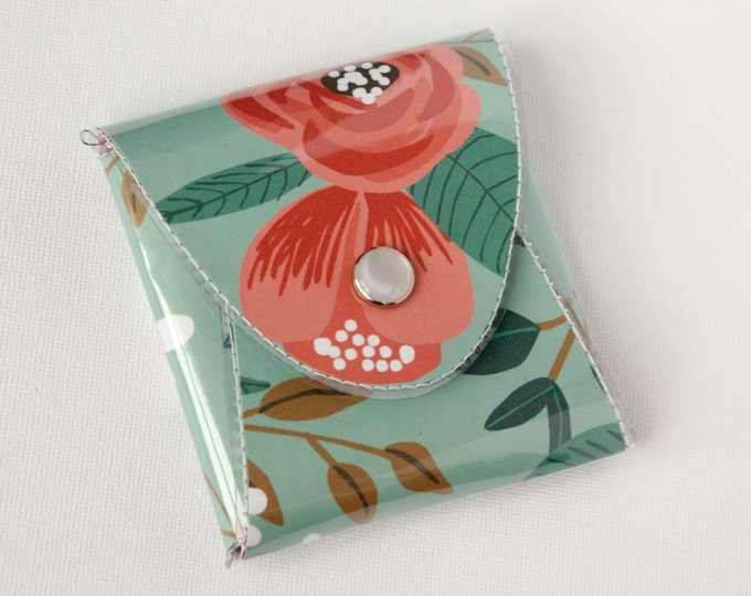 NEW Handmade Vinyl Coin Purse - Botanical Blue / wallet, vegan, change, snap, small, little, pocket wallet, gift, floral, blue, flowers