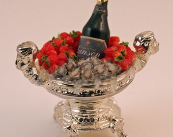 12th scale handmade miniature Champagne, Strawberries & Oysters