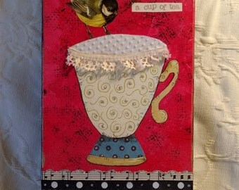 Teacup mixed media collage, painting, original
