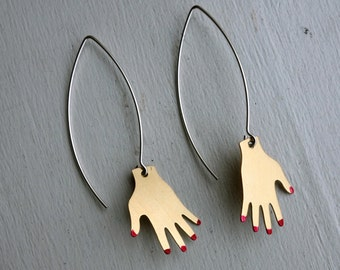 Brass and Sterling Silver Hand Dangle Earrings