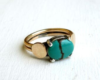 Turquoise Shoulder Pad Ring in 14k Goldfill with Sterling Silver Prongs