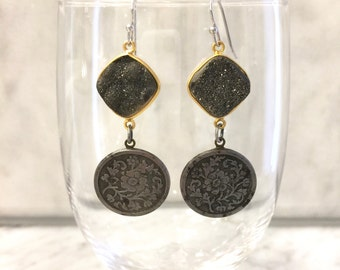 Vintage repurposed floral steel cut buttons and black druzy connector earrings