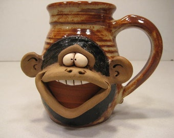 Happy Monkey Mug ....    Lefty .......                  a38
