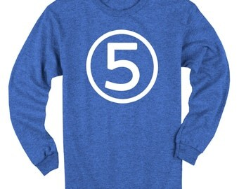 Fifth Birthday Long Sleeve Heather Royal Blue Kids T-Shirt