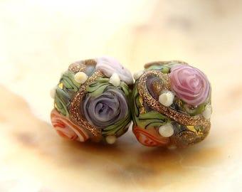Golden Floral Handmade Lampwork Bead Pair