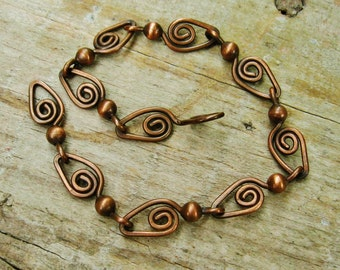 Copper Bracelet - Swirls and Dots wire wrapped antiqued copper links adjustable bracelet