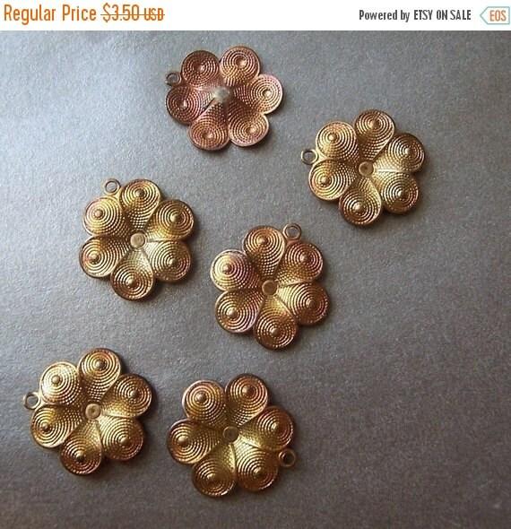 ON SALE 18% off Brass 12mm Stylized Dapped Patina Flower Charms 6 Pcs