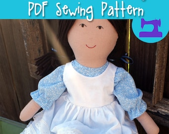 PDF SEWING PATTERN - Playful Prudence Large Rag Doll Sewing Pattern - rag doll pattern, cloth doll pattern, doll clothes, rag dolls, stuffed