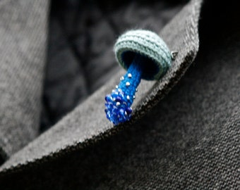 Beaded mushroom crochet brooch - blue pin - whimsical jewelry