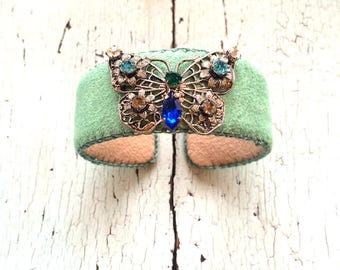 Green Butterfly Adjustable Cuff