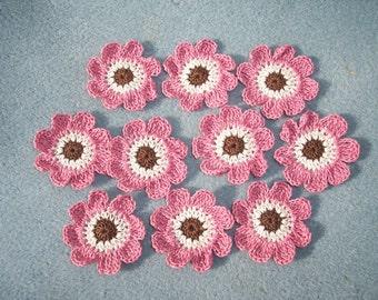 10 crochet applique flowers in brown ecru rose --  2551