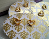 Gold Heart Stud Earrings -  Hand Painted Metallic Brass Upcycled Old Stock Heart of Gold Post Earrings - Everyday Cute Hearts Jewelry Gift