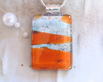Dichroic Glass Pendant, Fused Necklace, Silver, White, Orange, Necklace Included, A13