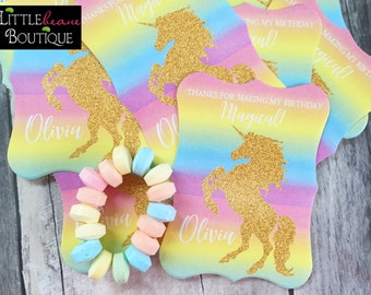 Unicorn Birthday party, Unicorn Stickers, Unicorn labels,Gold Glitter Unicorn,Rainbow Unicorn Stickers,Favors, Gift stickers,Magical unicorn