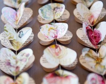 Valentines day decor, Valentine garland, Heart garland, Blush wedding, French vintage decor, Pink wedding, Peony garland, rustic wedding