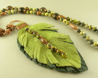 Handmade Leather Leaf with Copper Stone and Pearl Necklace with Matching Earrings Free Shipping in the USA