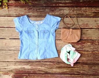 Vintage Grab Bag! 90's Denim Blouse, Floral Scarf and 80s Brown Purse / Gift Set for Women