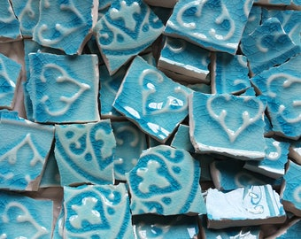 Mosaic Tiles--Crackle Turquoise - 58 Tiles.