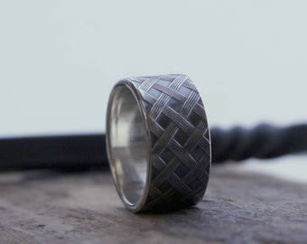 Sterling Silver Patterned Wide Band Ring - Wide band wedding band - Unisex ring