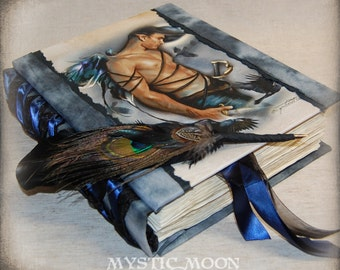 Man Warrior Fairy / Raven / Handmade Blank Journal  / Spell Book / Diary / writing journal / Wicca / Pagan / Quill  / book of shadows