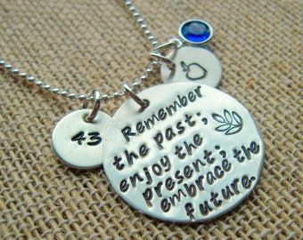 "Hand Stamped Disc Necklace - 1.25"" - 1 1/2"" - Personalized Necklace - Gift for Her - Graduation Necklace - Retirement Necklace"