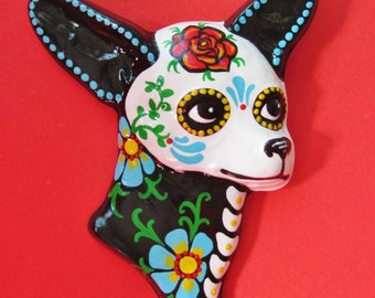 CHIHUAHUA Art Day of the Dead Dog Wall Hanging Dia de los Muertos - CUSTOM by Illustrated Ink - CHOOSE Your Own Colors