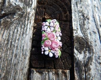 Pretty in Pink, Floral Bead, Handmade Artisan Glass Lampwork Bead, Simply Lampwork by Nancy Gant SRA G55