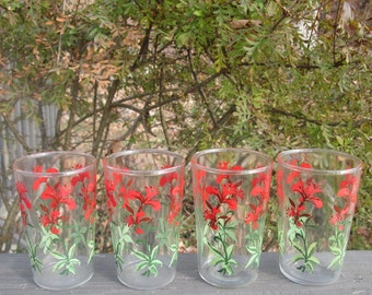 Four Vintage Juice Glasses - Six Ounce Juice Glasses