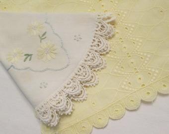 Vintage Dresser Scarf/ Doily - Yellow Cotton Eyelet Scarf - Round Embroidered Linen Doily