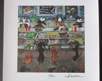 Original Signed  DACHSHUND Wiener DOG CAFETERIA Print from Painting by Southwestern Ontario  Canadian Artist Ellen Haasen