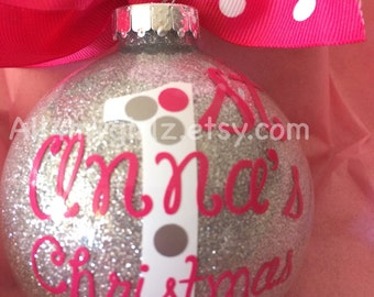 Babys 2nd Christmas Ornament Personalized Custom with Bow Ribbon 3rd Christmas 2016
