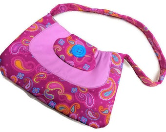 Lilac and Paisley  Print  Purse Handmade