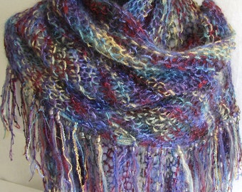 Shawl #Scarf #Accessory #Wrap Around #Knitted Womens Fashion #Multicolors #Teal Magenta Yellow Long Fringes with Beads