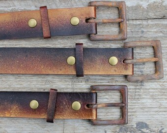 rusty leather snap belt with square prong buckle