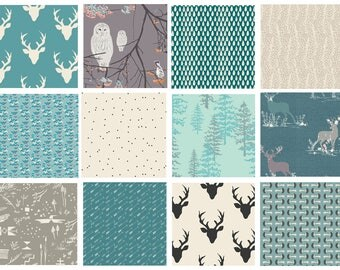 12 FABRIC QUILT BUNDLE - Hello, Bear - Blithe - Forest Floor - Woodland Quilting Fabric - Deer Antlers Forest Blue Teal Gray Birds