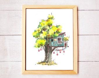 Treehouse Series 9 Watercolor Art Print - Digital Download