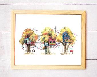 Treehouse Series Neighborhood 1 Watercolor Art Print - Digital Download