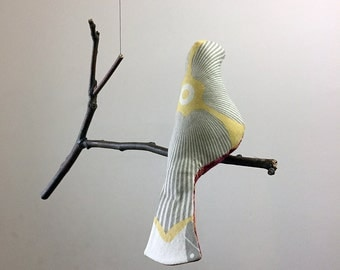 Single Bird Mobile  -  A Kinetic Beauty In Cream, Gold and a Rich Red