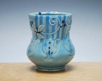 Teapots Yunomi in Aqua gloss w. Sky blue Stripes, Navy dots, & Leaf swirl, Victorian modern, Handmade cup