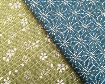 Green & Blue Sevenberry Double Sided Sakura Cherry Blossom and Asanoha Star Japanese dobby cotton fabric