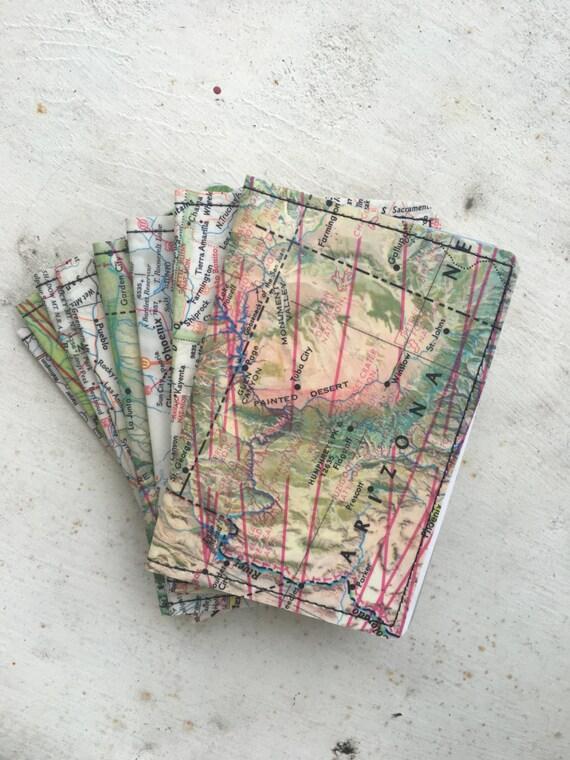 Slim Wallet- Soutwest USA Vintage Map- Choose 1