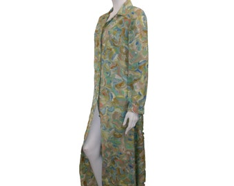 Vintage 60s 70s Extra Long Day Dress // Button Up Abstract Brush Strokes Dress//  Long Sleeve Dress// Psychedelic Dress// 130