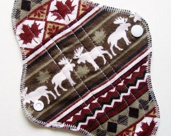 8in Cotton Flannel Panty Liner Cloth Menstrual Pad, Fairisle Maple Leaf Moose, Cloth San Pro CSP, Incontinence Pad, Washable Mama Cloth Pad