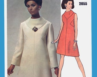 1960s MOD A line Dress w/ Bias side insets Vogue Americana 2055 Bill Blass Vintage Designer Sewing Pattern Sz 8 Bust 31.5