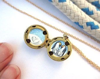 Penguin Family Hand-Painted Locket, Miniature Art Necklace, Gift for Mom