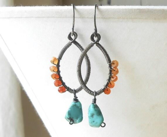 Wire Wrapped Beaded Gemstone Earrings, Sterling Silver Turquoise, Carnelian Boho Dangle Earrings