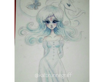 The Last Unicorn Princess Amalthea Butterfly watercolor painting