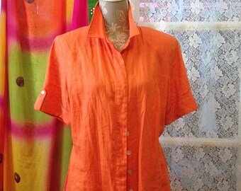 Orange Linen 80s Dress Size 12 to 14 12W August Max Woman Dress